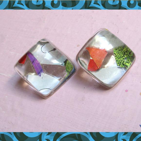 My Own Design Jewelry Cool Diamond Shaped Collage Resin Stud Earrings Poshmark